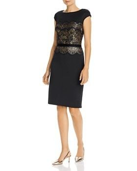TADASHI SHOJI ワンピース Tadashi Shoji Sequin and Lace Inset Neoprene Dress