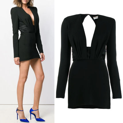 Saint Laurent ワンピース WSL1531 OPEN-BACK CREPE DRESS WITH SATIN BAND