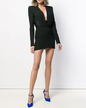 Saint Laurent ワンピース WSL1531 OPEN-BACK CREPE DRESS WITH SATIN BAND(2)
