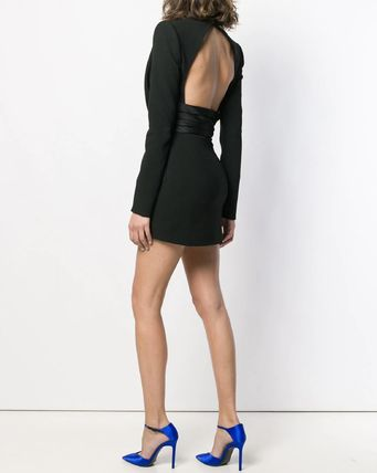 Saint Laurent ワンピース WSL1531 OPEN-BACK CREPE DRESS WITH SATIN BAND(3)