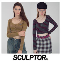 〜SCULPTOR〜19AW Button-Down LS Top 2色-超可愛ショートトップ