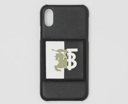 Burberry スマホケース・テックアクセサリー BURBERRY Contrast Logo Graphic Leather iPhone X/XS ケース 黒
