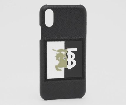 Burberry スマホケース・テックアクセサリー BURBERRY Contrast Logo Graphic Leather iPhone X/XS ケース 黒(3)
