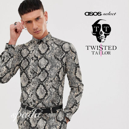 SALE【Twisted Tailor】スネークプリント 長袖 シャツ/ 送料無料
