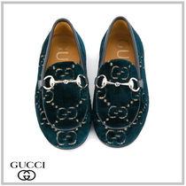GUCCI CHILDREN☆JORDAAN LOAFERS IN GG VELVET