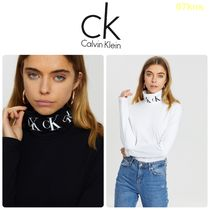【Calvin Klein】Monogram Tape Roll Neck Long Sleeve Tee