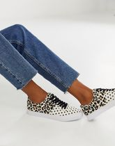 ASOS DESIGN Dollis lace up trainers in polka dot and leopar