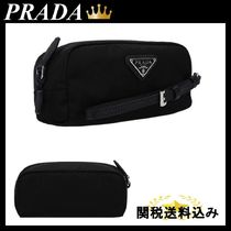 PRADA NYLON BEAUTY CASE WITH SAFFIANO DETAILS