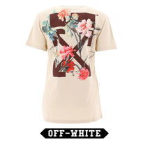 Off-White Cotton t-shirt with logo print ロゴ かわいい★花