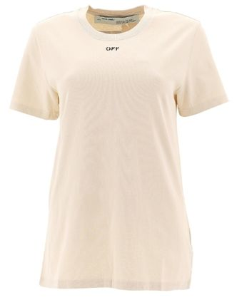 Off-White Tシャツ・カットソー Off-White Cotton t-shirt with logo print ロゴ かわいい★花(2)