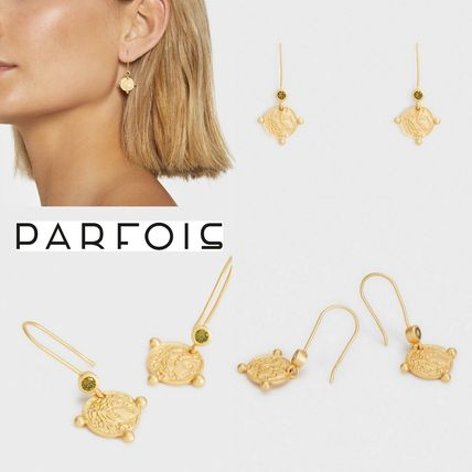 【SILVER 925】Parfois 限定◆コイン型チャーム付きピアス◆Gold