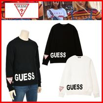 人気★【GUESS】★SIDE PRINT SEMI OVER FIT SWEATSHIRTS★2色★