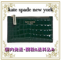 Kate Spade◆便利サイズ☆Sylvia クロコ型押し財布