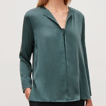 """""""COS"""" SILK OPEN-NECK BLOUSE TURQUOISE"""