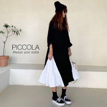 ■PICCOLA■ 【2COL】スウェットコンビティアードワンピース