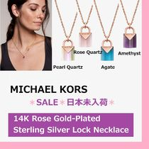 ◆MK◆14K Rose Gold-Plated Sterling Silver Lock Necklace