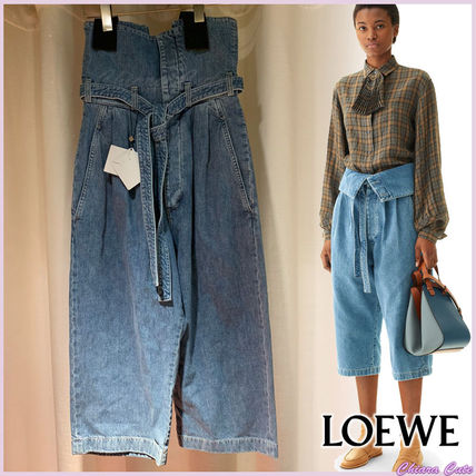 LOEWE デニム・ジーパン 【19AW NEW】LOEWE_women /Belted Pleated Oversize Jeansデニム