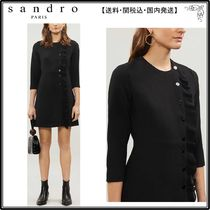 【海外限定】sandroワンピース☆Carra ruffled crepe mini dress