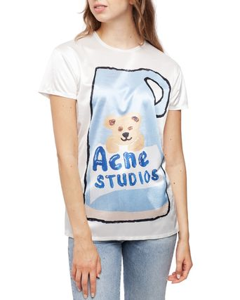 [Acne] Erry Synthetic Placed セラミックプリントTシャツブルー