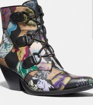 Lace Up Chain Bootie With Kaffe Fassett Print
