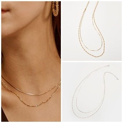 Hei ネックレス・ペンダント 日本未入荷Heiのtwo lines chain necklace 全2色