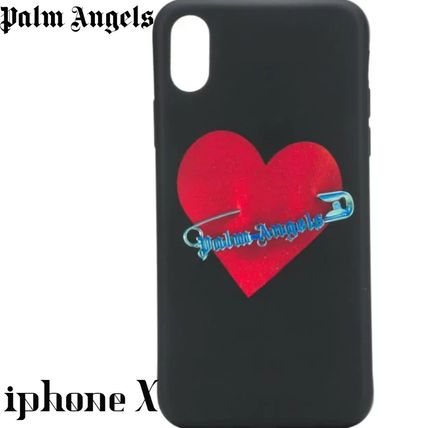Palm Angels スマホケース・テックアクセサリー Palm Angels Black safety pin heart iPhone X case