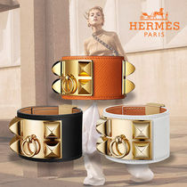 HERMES直営店★《Colliers de Chiens》レザーブレスレット gold