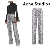 Acne Studios☆Thes snake-print coated-jersey wide-leg pants