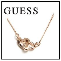 Guess Tone Interlock Heart Necklace ロゴ ハートネックレス