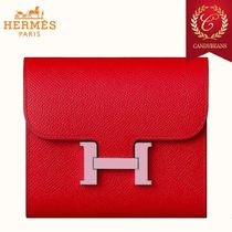 ◆Hermes エルメス Constance レザー コンパクトウォレット Red