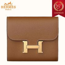 ◆Hermes エルメス Constance レザーコンパクトウォレット Brown