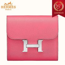 ◆Hermes エルメス Constance レザー コンパクトウォレット Pink