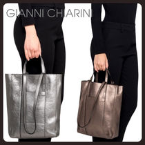 【GIANNI CHIARINI 】superlight zip メタリック トート 2色」