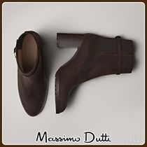 MassimoDutti♪BROWN HIGH-HEEL ANKLE BOOTS