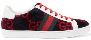 ★GUCCI★NEW ACE LEATHER-TRIMMED LOGO-PRINT VELVET SNEAKERS