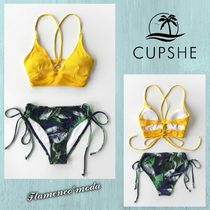 関税込★CUPSHE★YELLOW AND FLORAL LACE-UP *ビキニSET(C243)