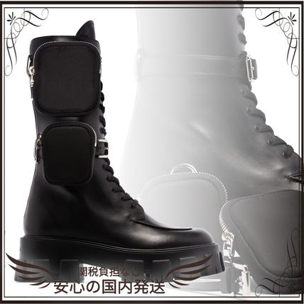 関税込◆Monolith nylon pocket-detailed leather combat boots