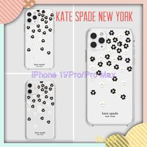 Kate Spade モノトーン花柄 ハードケース iPhone 11/Pro/ProMax