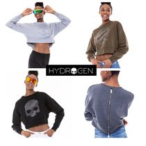 Hydrogen 後ろも可愛い ショート丈 SKULL ZIP BACK SWEATSHIRT