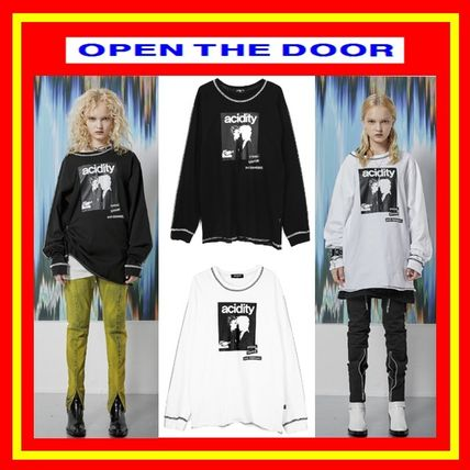 OPEN THE DOOR Tシャツ・カットソー [OPEN THE DOOR]   POINTED STITCH PRINTING LOGO T  -(全2色)