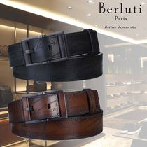 【BERLUTI】Front Leather Belt - 35mm