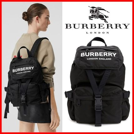 Burberry バックパック・リュック Burberry☆19FW ロゴプリント ナイロンバックパック☆正規品☆