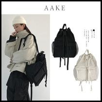 ☆AAKE☆ バックパック POCKET ROPE BACKPACK (beige/black)
