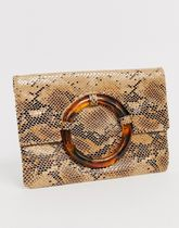 ASOS DESIGN snake clutch with tort ring