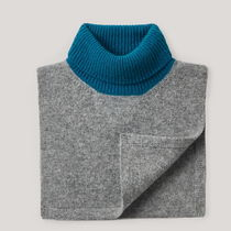 """""""COS KIDS"""" ROLL-NECK CASHMERE SCARF GRAY/BLUE"""