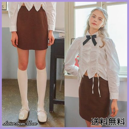 LETTER FROM MOON Tシャツ・カットソー [LETTER FROM MOON] FW CHECK SKIRT (BROWN)
