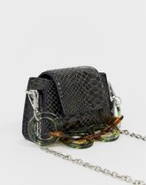 ASOS DESIGN micro bag in snake with statement resin handle