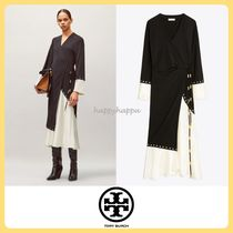 【Tory Burch】MIXED-MATERIAL WRAP DRESS☆日本未入荷