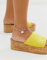 ASOS DESIGN anklet in hardware chain with padlock in silve