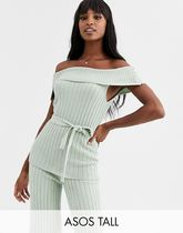ASOS DESIGN Tall co-ord bardot knitted top with belt